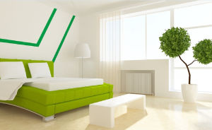 Interior-design-white-walls-green-bed