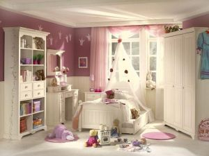 Appealing-kids-bedroom-design-with-white-pink-paint-wall-decor-also-white-wooden-furniture-set-and-white