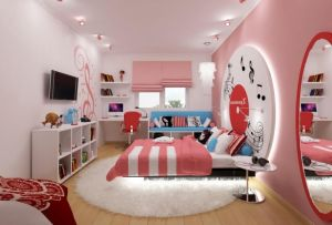 Atrractive-colorful-kids-bedroom-design-with-amazing-led-lighting-behind-round-headboard-also-elips-mirr