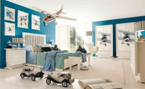 Atrractive-kids-bedroom-design-for-boys-with-plane-theme-furniture-set-also-blue-paint-wall-decor-along-