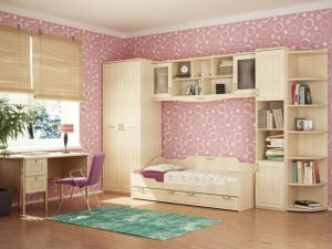 Awesome-bedroom-interior-design-with-pink-circle-wallpaper-and-small-bed-under-the-floating-cabinet-alo