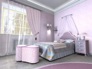 Awesome-kids-bedroom-design-with-colorful-furniture-set-including-pink-round-rug-on-floor-and-love-shape