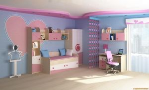 Awesome-kids-bedroom-interior-design-with-colorful-furniture-set-as-well-elegant-study-table-plus-pink-s