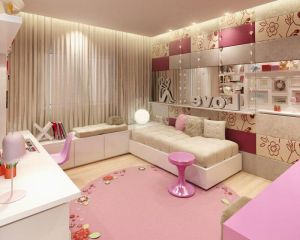 Beautiful-bedroom-interior-design-with-colorful-furniture-set-with-pink-round-rug-on-wooden-floor-as-wel
