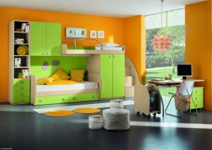 Colorful-kids-bedroom-design-for-boys-with-bright-orange-paint-wall-and-small-bed-under-the-green-cabine