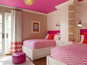 Colorful-kids-bedroom-ideas-with-pink-bedding-set-and-ceiling-along-with-double-bed-and-shelves-idea-the
