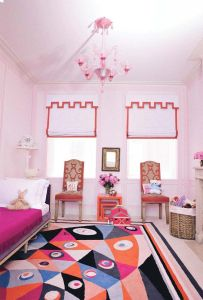Colorful-kids-bedroom-interior-design-with-colorful-pattern-rug-on-floor-along-with-shades-window-beside
