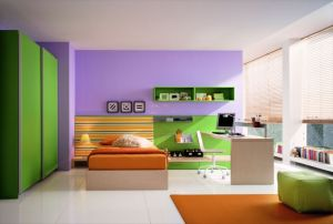 Cool-green-houses-interior-design-in-modern-kids-bedroom-as-well-green-paint-wardrobe-as-well-orange-bed