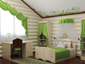 Interesting-green-houses-interior-design-in-kids-bedroom-as-well-green-short-curtain-and-duvet-cover-alo