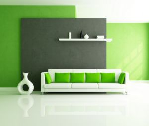 Interesting-green-houses-interior-design-with-green-painting-wall-and-pillow-on-white-sectional-leather-