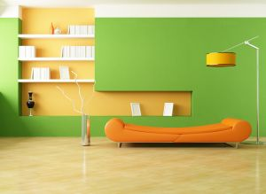 Interior-design-style-minimalism-room-sofa-orange-lamp-vase