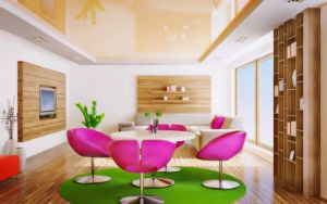 Lovely-green-houses-interior-design-with-pink-chair-plus-white-round-table-on-green-round-rug-underneath